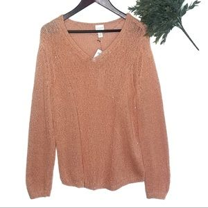 Chico's Sweaters - NWT Chicos Sequin Samantha Ginger Peach Sweater